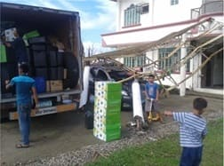 Shipping of relief materials and EM products