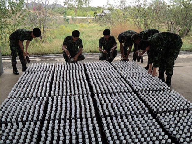 Royal Thai Army producing AEM and bottling for supplying AEM to affected citizens