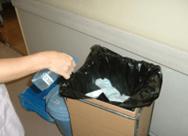 Spraying AEM inside the diaper garbage bin to suppress bad odor