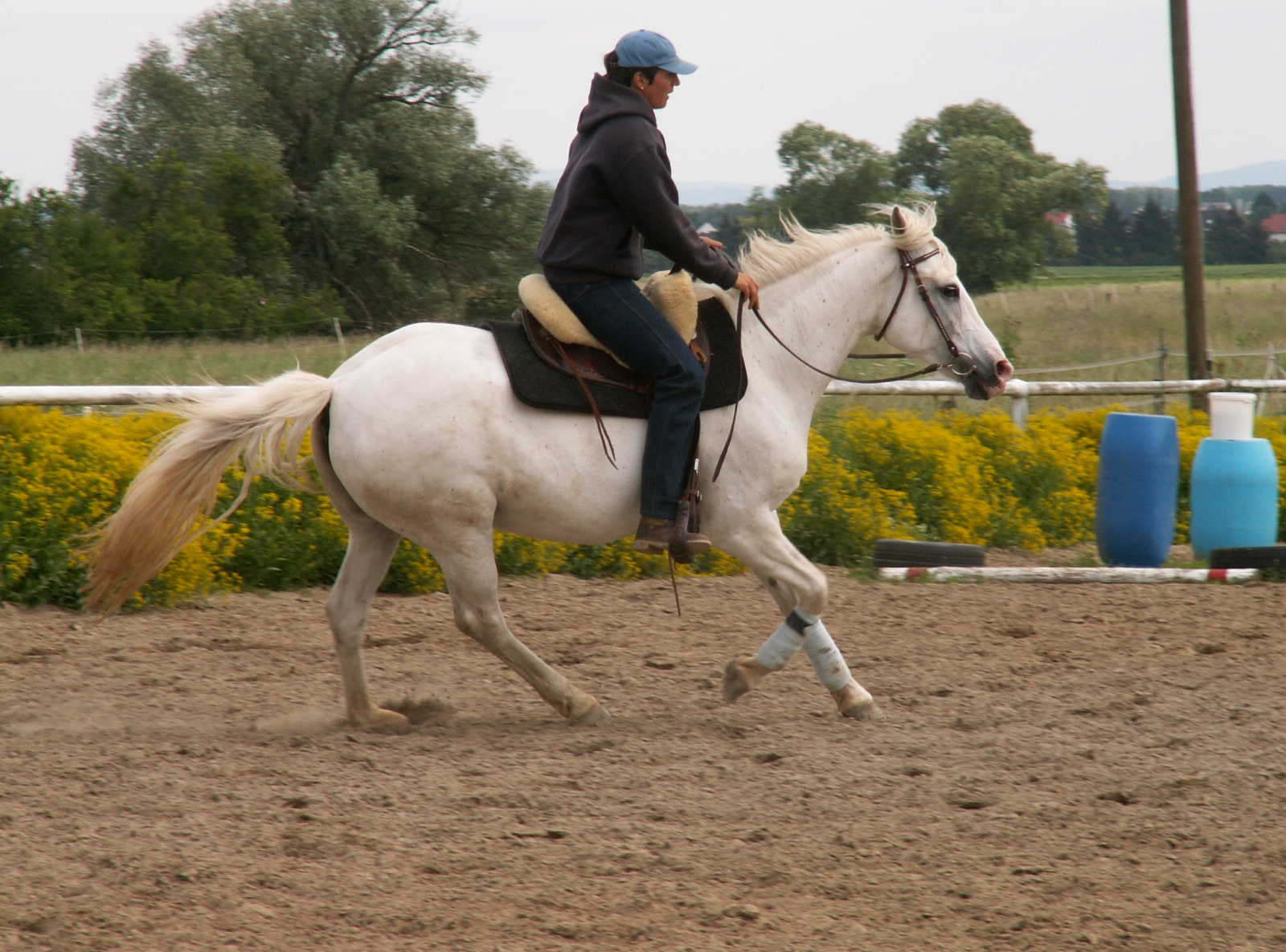 Tanja riding her mare